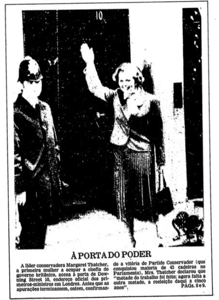 Destaque da Primeira Página da Folha em 5 de maio de 1979, quando Margaret Thatcher ao vencer o pleito para premiê