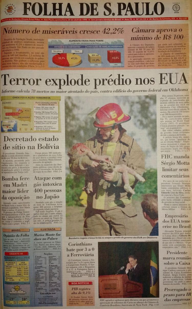 Capa da Folha em 20 de abril de 1995