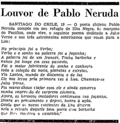 Poema de Pablo Neruda publicado em 20 de julho de 1969 sobre a conquista da Lua