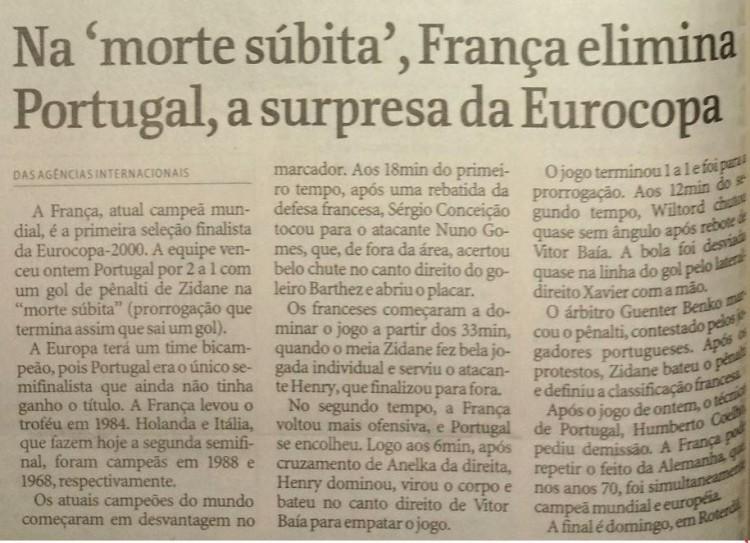 Texto publicado em Esporte em 29 de junho de 2000 (Credíto: Folhapress)
