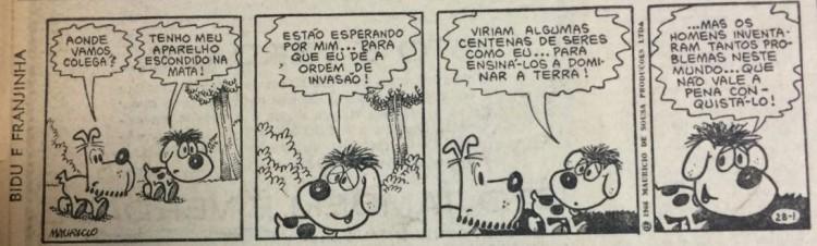 """Tirinha de """"Bidu e Franjinha"""", de Mauricio de Sousa, publicada na Folha em 1º de julho de 1966"""