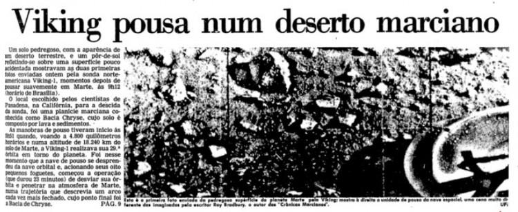 Primeira página da Folha de 21 de julho de 1976