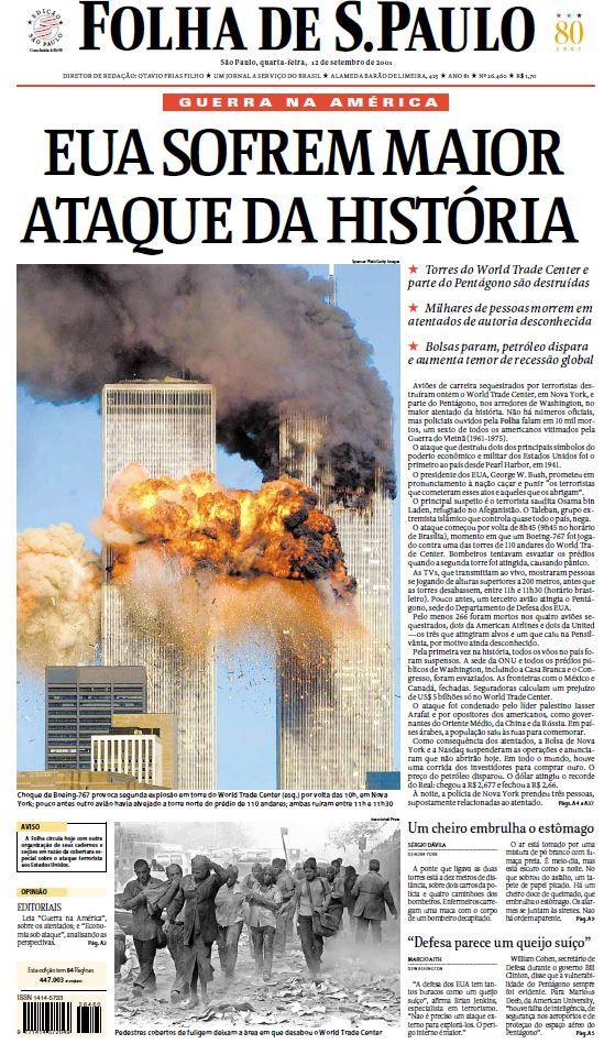 Primeira página da Folha de 12.set.2001