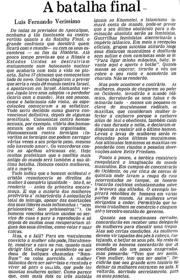 """Texto """"A batalha final"""", primeira crônica de Luis Fernando Verissimo na Folha, em 23.mar.1979"""