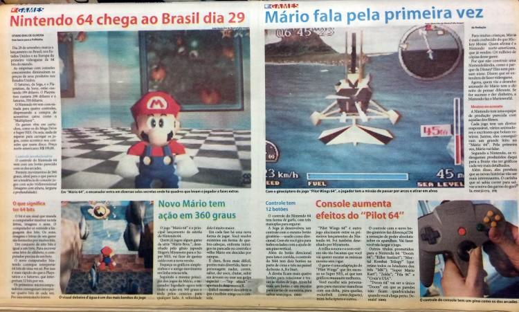 """Edição da Folhinha de 30 de agosto de 1996 dá destaque ao novo videogame da Nintendo e a """"Super Mario 64"""", que seriam lançados no mercado norte-americano e, consequentemente, também chegariam ao Brasil"""