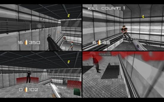 """Tela dividida em quatro no multiplayer de """"Goldeneye 007"""" da Rare para Nintendo 64 (Foto: Reprodução)"""