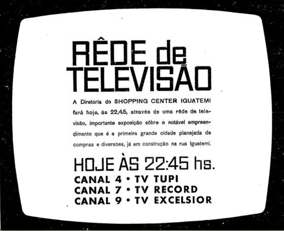 Anúncio do Shopping na TV - 10.jun.1965