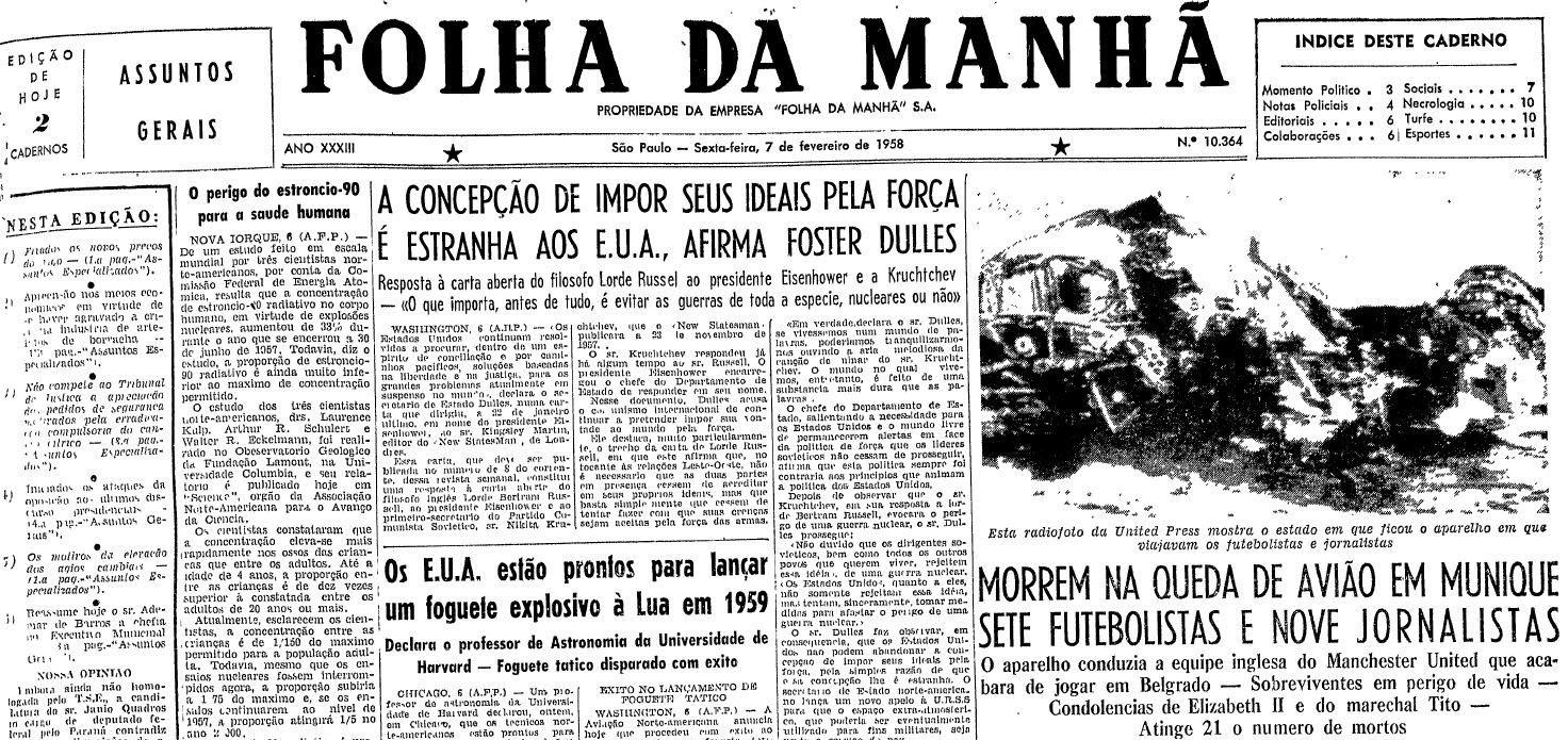 Primeira página da Folha da Manhã de 7 de fevereiro de 1959 (Foto   Folhapress 79f0d6d6cb